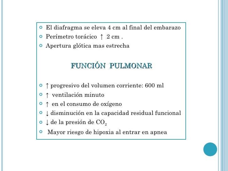 <ul><li>El diafragma se eleva 4 cm al final del embarazo  </li></ul><ul><li>Perímetro torácico  ↑  2 cm . </li></ul><ul><l...