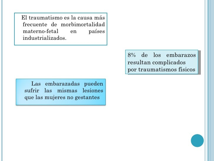 <ul><li>El traumatismo es la causa más frecuente de morbimortalidad materno-fetal en países industrializados. </li></ul>8%...