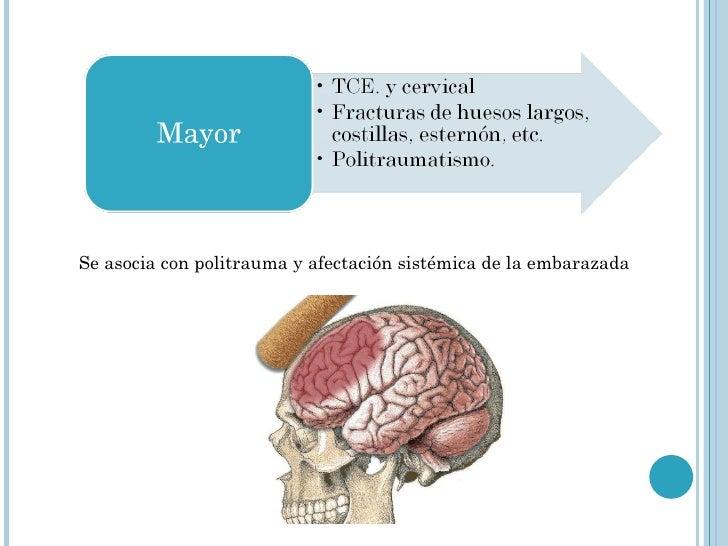 Se asocia con politrauma y afectación sistémica de la embarazada
