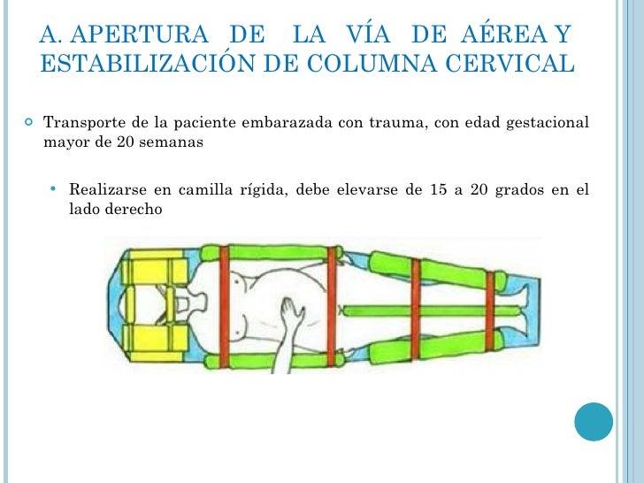 A. APERTURA  DE  LA  VÍA  DE  AÉREA Y ESTABILIZACIÓN DE COLUMNA CERVICAL <ul><li>Transporte de la paciente embarazada con ...