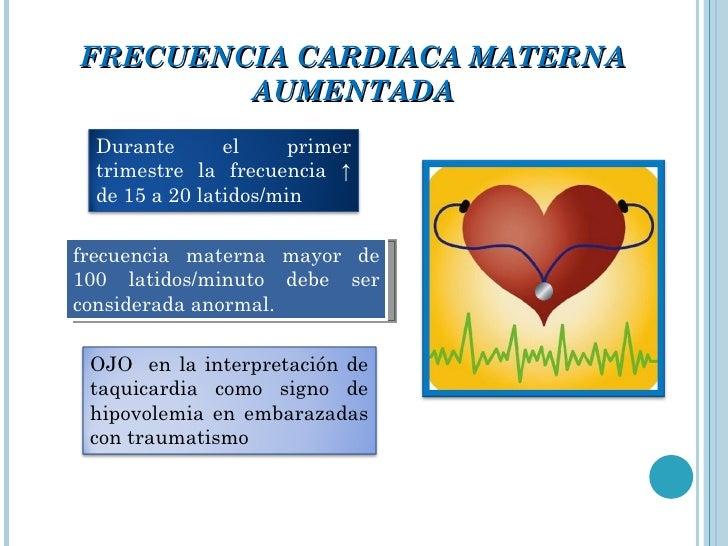 FRECUENCIA CARDIACA MATERNA AUMENTADA frecuencia materna mayor de 100 latidos/minuto debe ser considerada anormal. Durante...