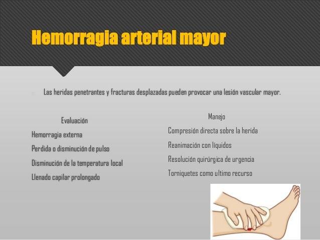Las heridas penetrantes y fracturas desplazadas pueden provocar una lesión vascular mayor. Evaluación Hemorragia externa P...