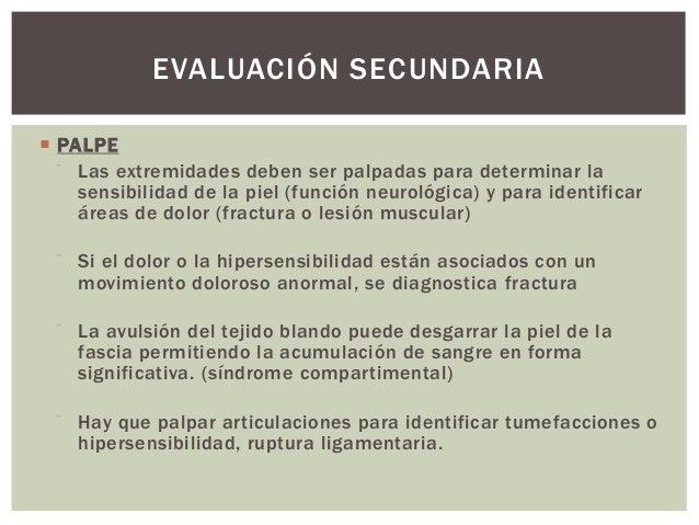 EVALUACIÓN SECUNDARIA PALPE    Las extremidades deben ser palpadas para determinar la     sensibilidad de la piel (funci...