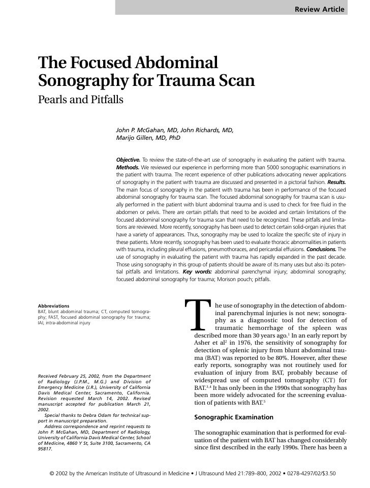 Review Article     The Focused Abdominal Sonography for Trauma Scan Pearls and Pitfalls                                   ...