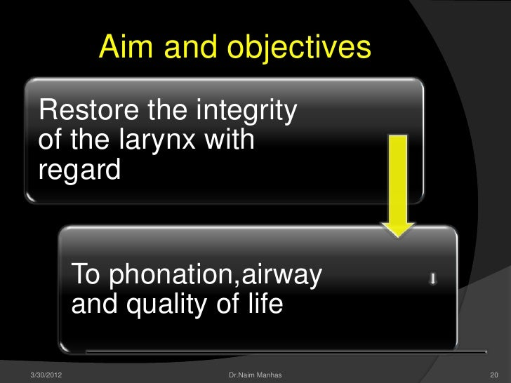 Aim and objectives  Restore the integrity  of the larynx with  regard            To phonation,airway            and qualit...