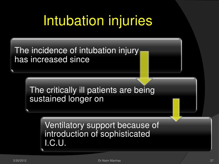 Intubation injuriesThe incidence of intubation injuryhas increased since            The critically ill patients are being ...