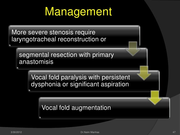ManagementMore severe stenosis requirelaryngotracheal reconstruction or      segmental resection with primary      anastom...