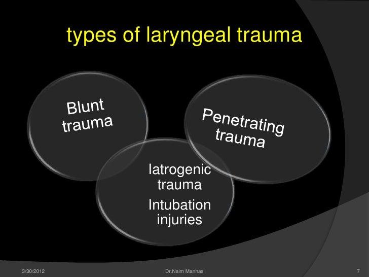 types of laryngeal trauma                    Iatrogenic                      trauma                    Intubation         ...