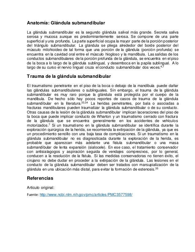 TRAUMATISMO DE LAS GLANDULAS SALIVALES: DIAGNOSTICO Y TRATAMIENTO