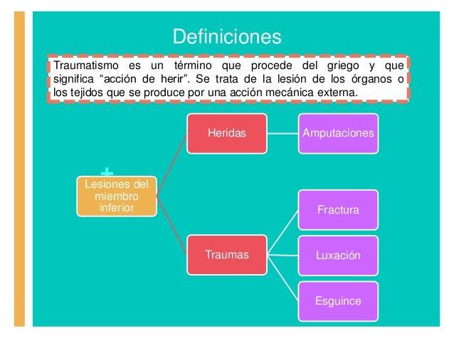 """+ Definiciones Traumatismo es un término que procede del griego y que significa """"acción de herir"""". Se trata de la lesión d..."""