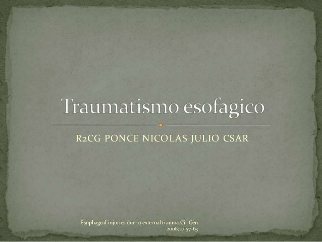 R2CG PONCE NICOLAS JULIO CSAR Esophageal injuries due to external trauma,Cir Gen 2006;27:57-63
