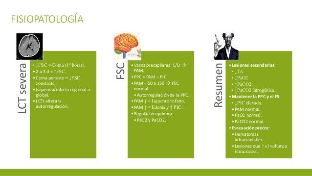 FISIOPATOLOGÍALCTsevera • ↓FSC = Coma (1º horas). •2 a 3 d = ↑FSC. •Coma persiste ≡ ↓FSC constante. •Isquemia/infarto regi...
