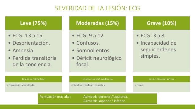 SEVERIDAD DE LA LESIÓN: ECG Leve (75%) • ECG: 13 a 15. • Desorientación. • Amnesia. • Perdida transitoria de la conciencia...