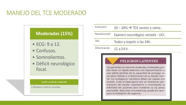 MANEJO DEL TCE MODERADO Evolución 10 – 20%  TCE severo y coma. Reevaluación Examen neurológico seriado - UCI. TAC Todos y...