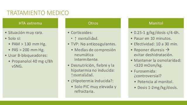 TRATAMIENTO MEDICO HTA extrema • Situación muy rara. • Solo si: • PAM > 130 mm Hg. • PAS > 200 mm Hg. • Usar B-bloqueadore...