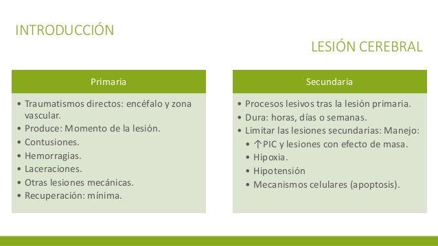 INTRODUCCIÓN LESIÓN CEREBRAL Primaria • Traumatismos directos: encéfalo y zona vascular. • Produce: Momento de la lesión. ...