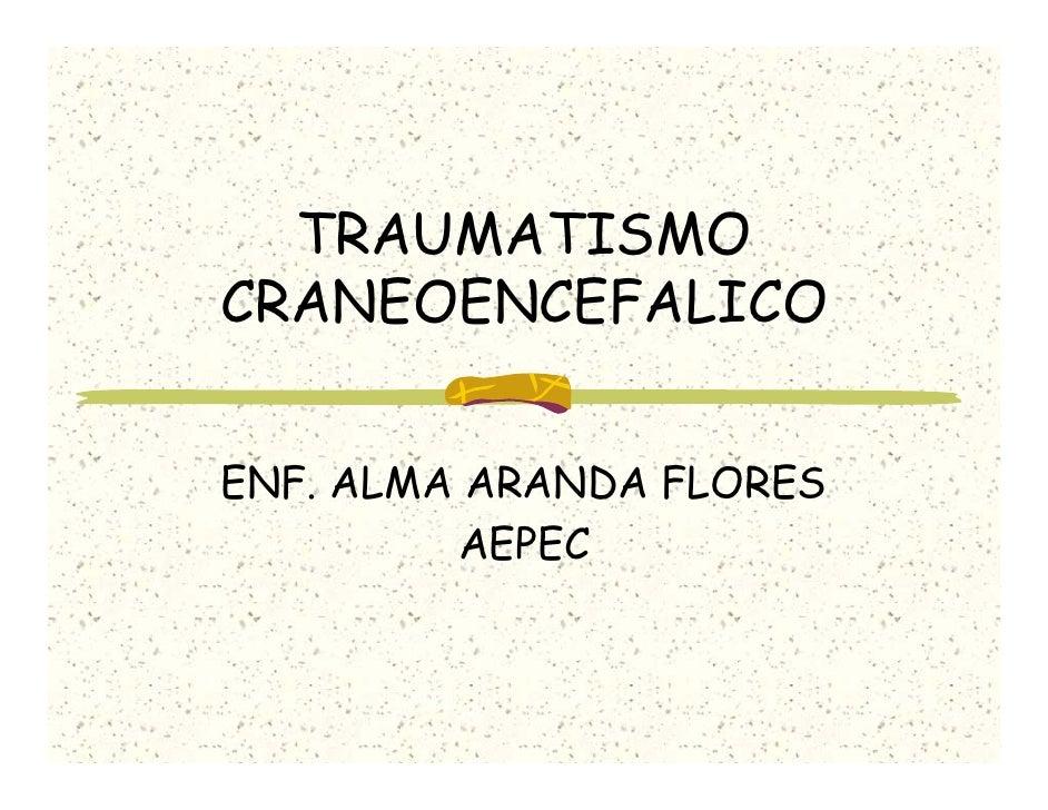TRAUMATISMO CRANEOENCEFALICO   ENF. ALMA ARANDA FLORES          AEPEC