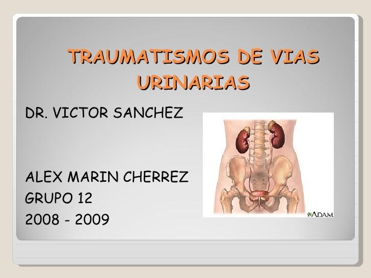 TRAUMATISMOS DE VIAS URINARIAS <ul><li>DR. VICTOR SANCHEZ </li></ul><ul><li>ALEX MARIN CHERREZ </li></ul><ul><li>GRUPO 12 ...