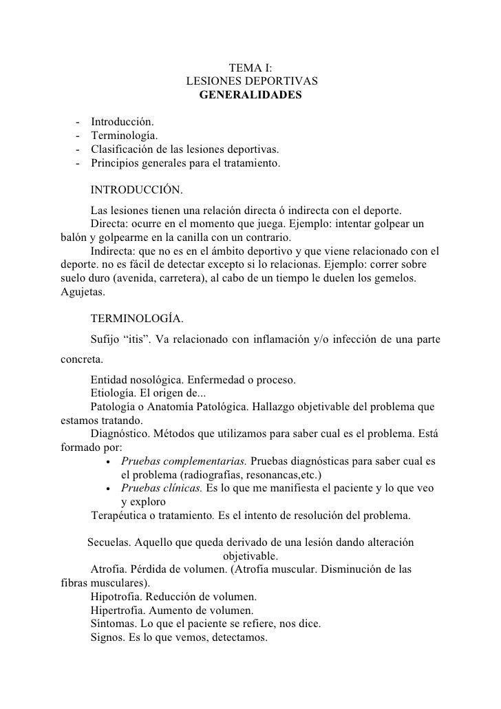 TEMA I:                           LESIONES DEPORTIVAS                             GENERALIDADES   -   Introducción.   -   ...
