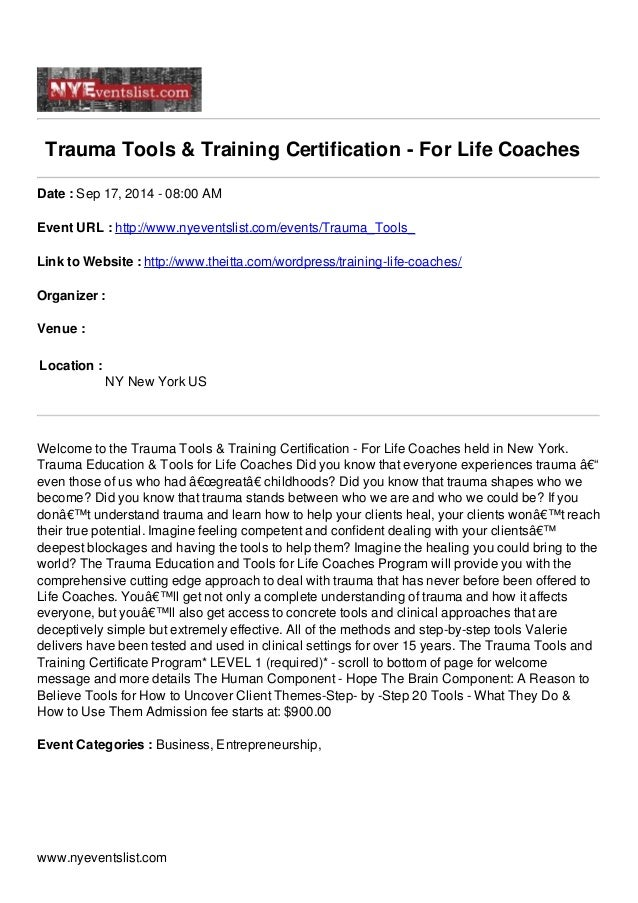 Trauma Tools Training Certification For Life Coaches