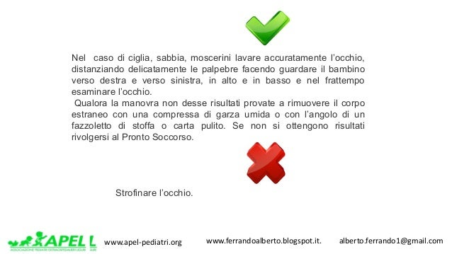 www.apel-pediatri.org www.ferrandoalberto.blogspot.it.alberto.ferrando1@gmail.com Nel caso di ciglia, sabbia, mos...