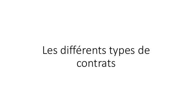 Les différents types de contrats