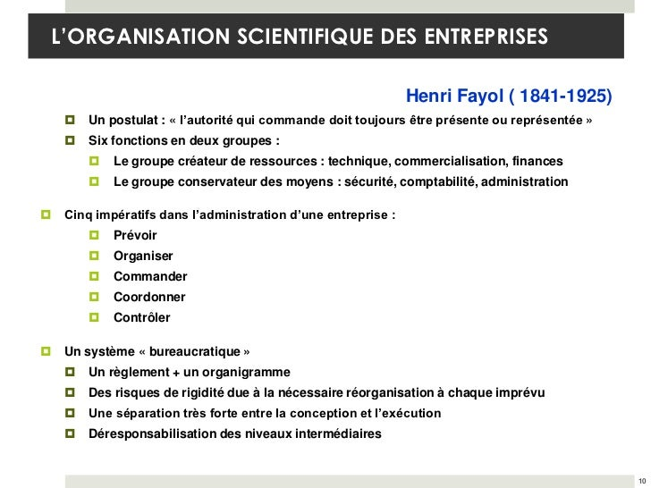 L'ORGANISATION SCIENTIFIQUE DES ENTREPRISES                                                                Henri Fayol ( 1...