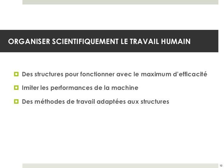 ORGANISER SCIENTIFIQUEMENT LE TRAVAIL HUMAIN  Des structures pour fonctionner avec le maximum d'efficacité  Imiter les p...