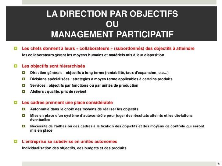 LA DIRECTION PAR OBJECTIFS                              OU                   MANAGEMENT PARTICIPATIF   Les chefs donnent ...