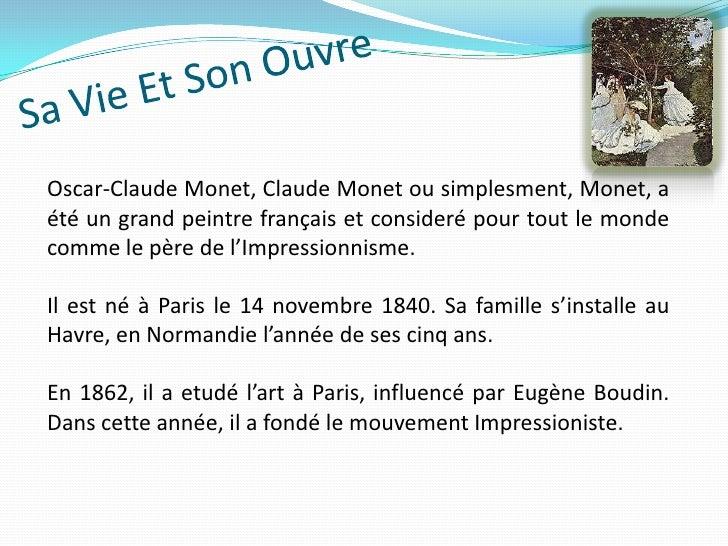 Travail de fran ais claude monet andr et emilene 9 b for Biographie claude monet