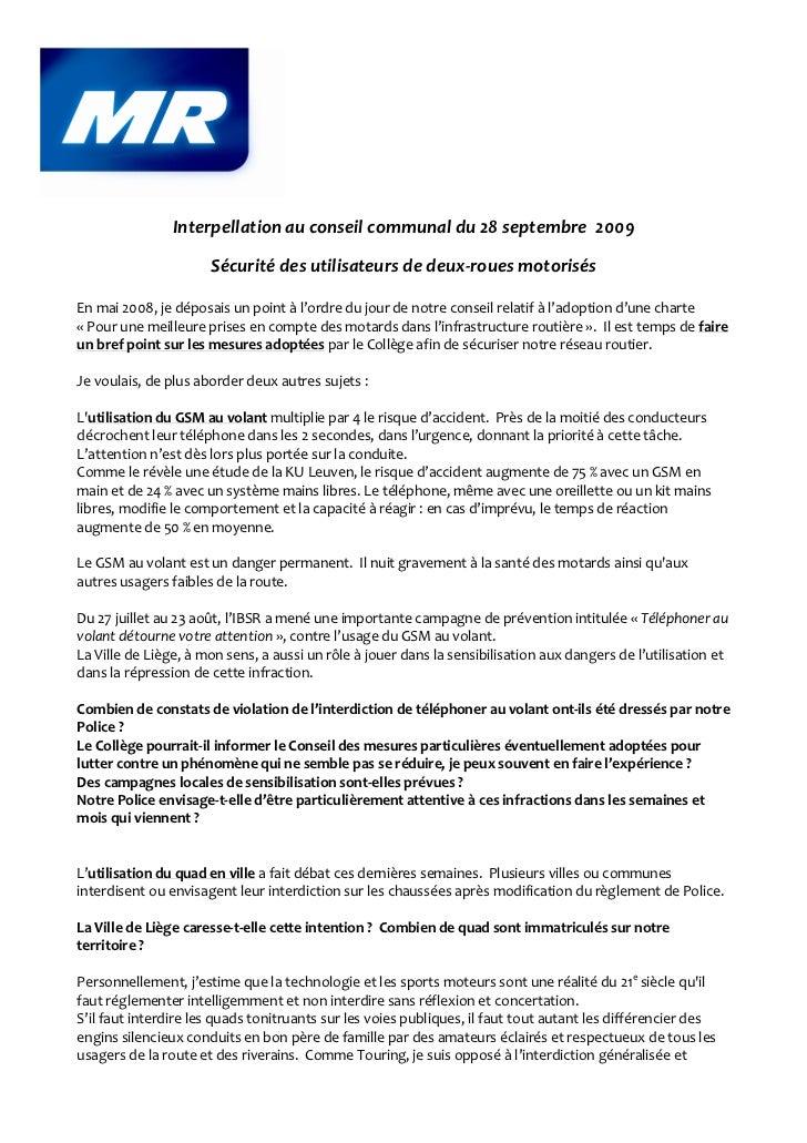 Interpellation au conseil communal du 28 septembre 2009                      Sécurité des utilisateurs de deux-roues motor...