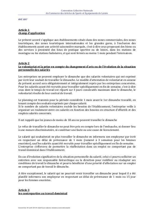 Idcc 1557 Accord Travail Dominical