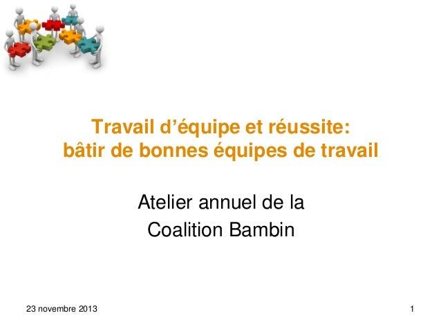 Travail d'équipe et réussite: bâtir de bonnes équipes de travail Atelier annuel de la Coalition Bambin  23 novembre 2013  ...