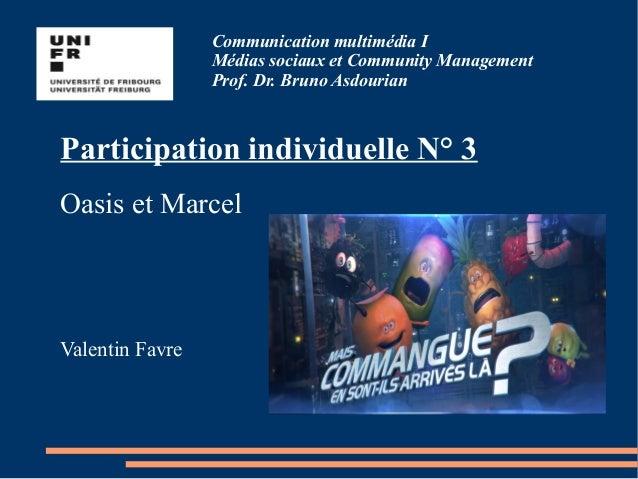 Communication multimédia I Médias sociaux et Community Management Prof. Dr. Bruno Asdourian Participation individuelle N° ...