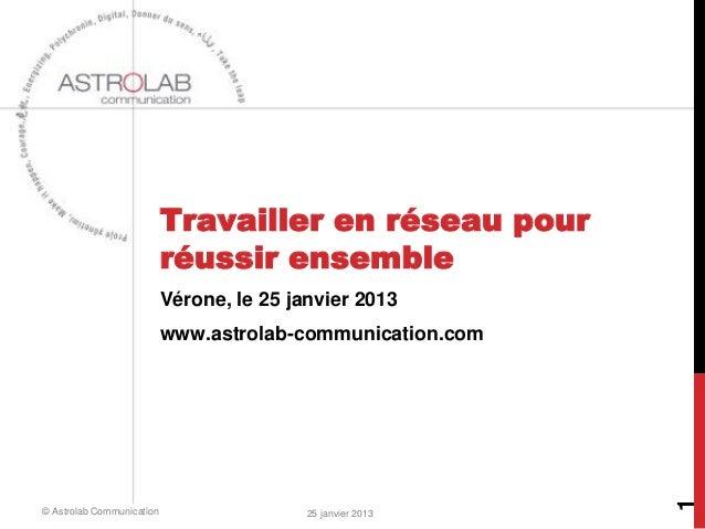 Travailler en réseau pour                           réussir ensemble                           Vérone, le 25 janvier 2013 ...