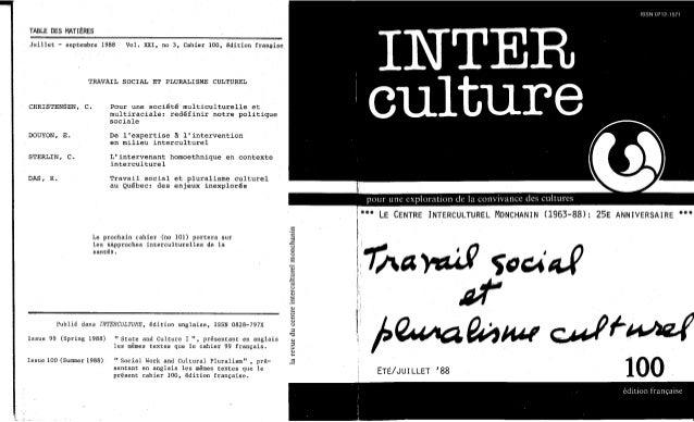 Travail social et pruralisme culturel