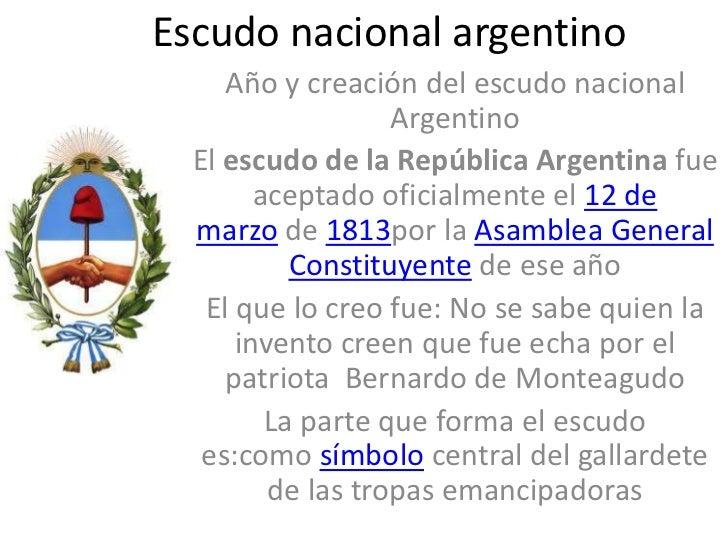 Escudo nacional argentino     Año y creación del escudo nacional                   Argentino  El escudo de la República Ar...