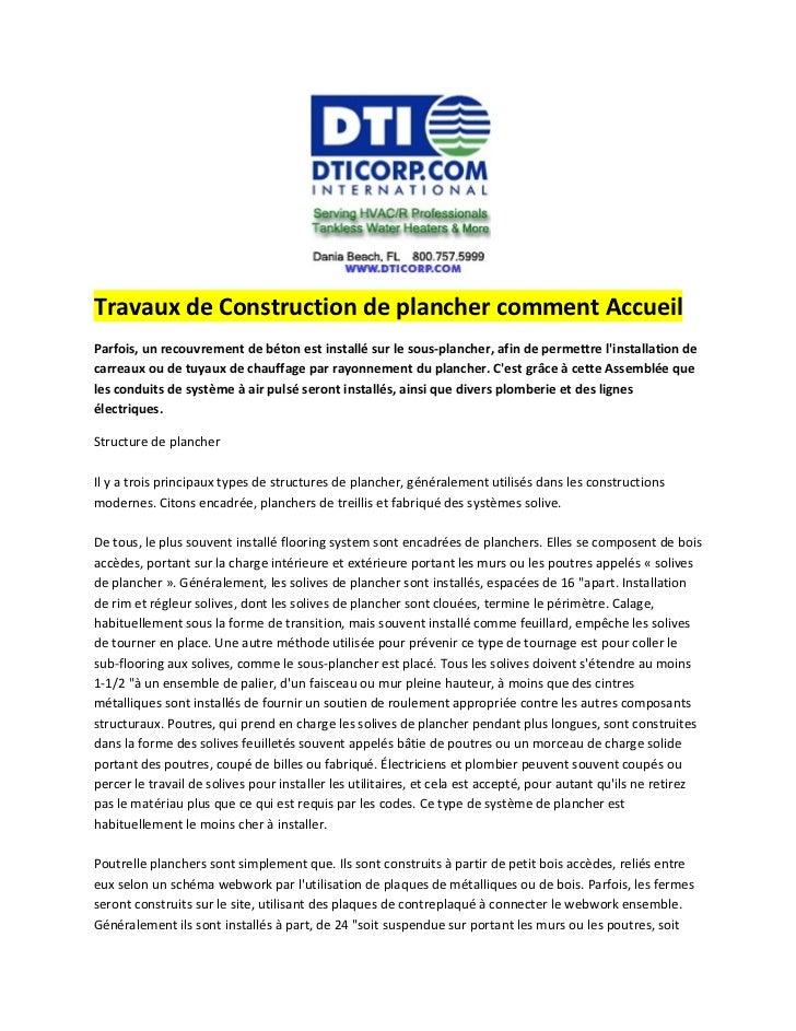 Travaux de Construction de plancher comment AccueilParfois, un recouvrement de béton est installé sur le sous-plancher, af...
