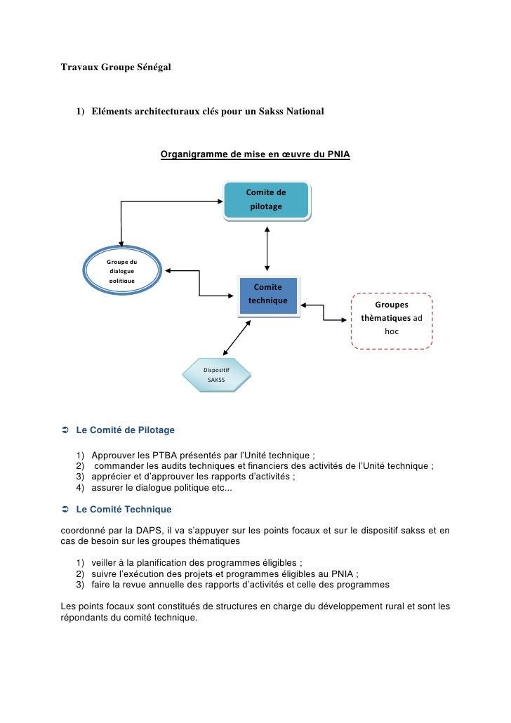 Travaux Groupe Sénégal   1) Eléments architecturaux clés pour un Sakss National                        Organigramme de mis...