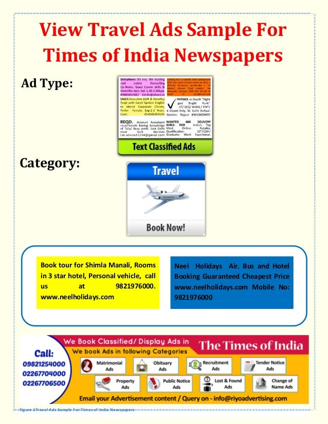 View Travel Ads Sample For Times Of India Newspapers Ad Type Category Book Tour