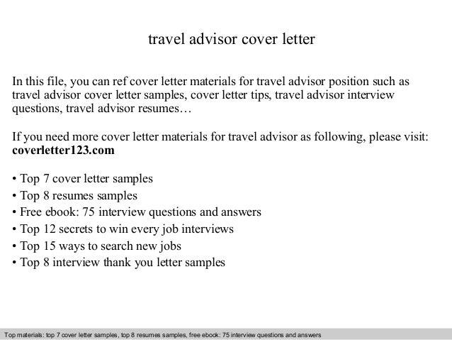 Travel advisor cover letter