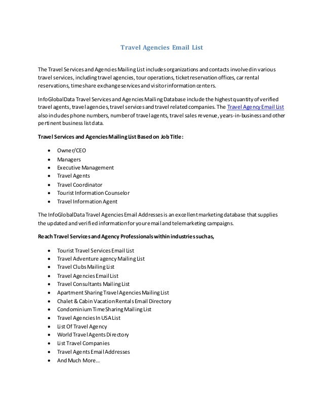 Travel Agencies Email List