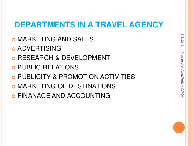 different departments in a travel agency
