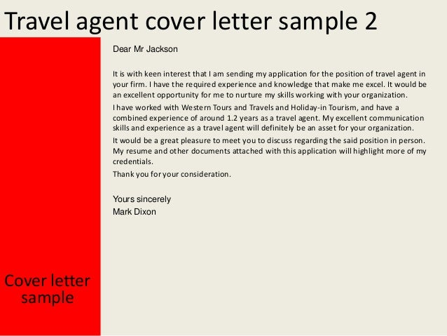 Travel Agent Cover Letter Examples
