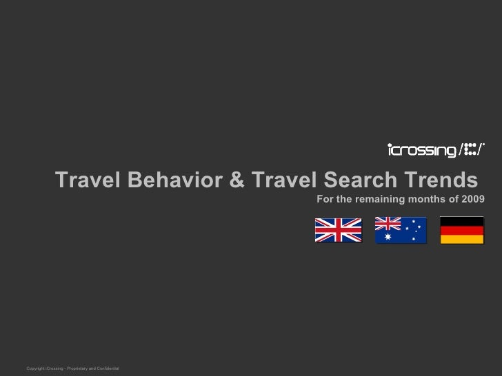 Travel Behavior & Travel Search Trends  For the remaining months of 2009 Copyright iCrossing - Proprietary and Confidential