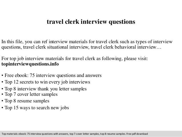 Travel Clerk Interview Questions In This File, You Can Ref Interview  Materials For Travel Clerk ...