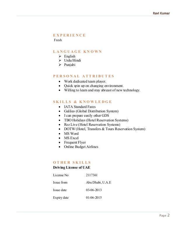 travel consultant cv