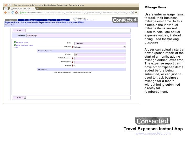 travel expenses itemized mileage and expense tracking