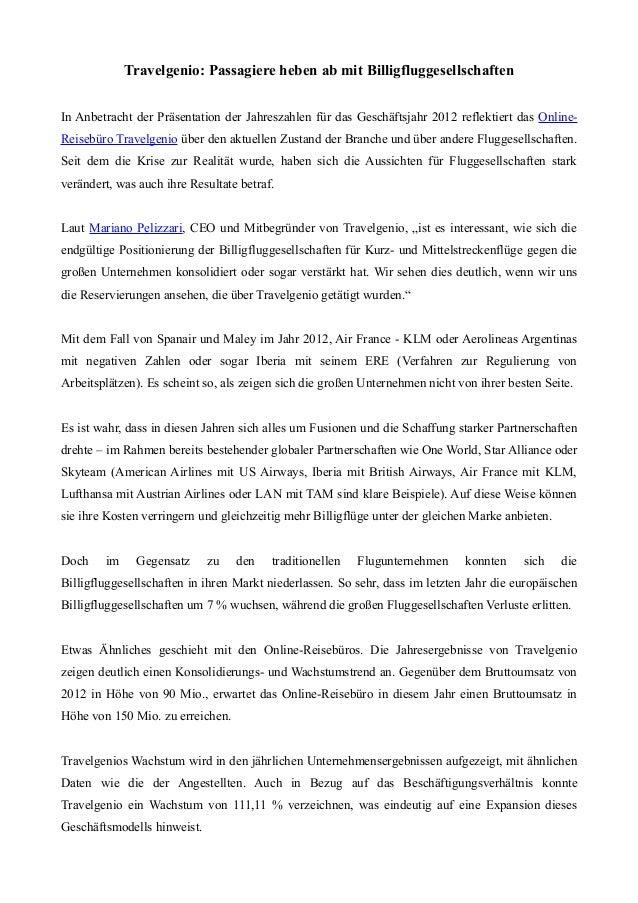 Travelgenio: Passagiere heben ab mit BilligfluggesellschaftenIn Anbetracht der Präsentation der Jahreszahlen für das Gesch...