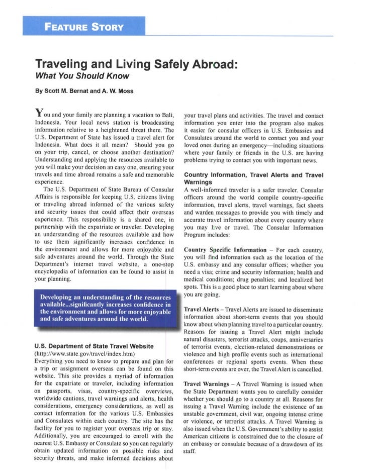 Traveling and Living Safely Abroad - AMCHAM Indonesia - The Executive Exchange Magazine